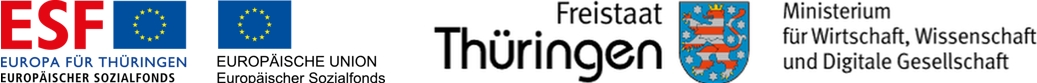 Logos ESF und Thüringer Ministerium für Wirtschaft, Wissenschaft und Digitale Gesellschaft