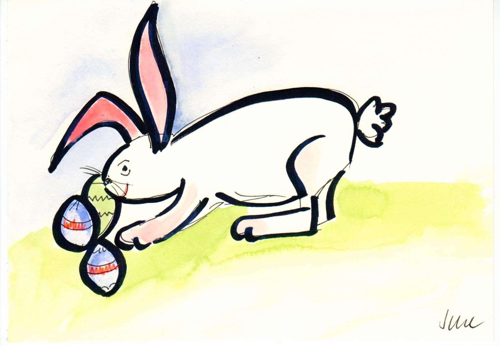 Osterhase gemalt von Monika Scheddin