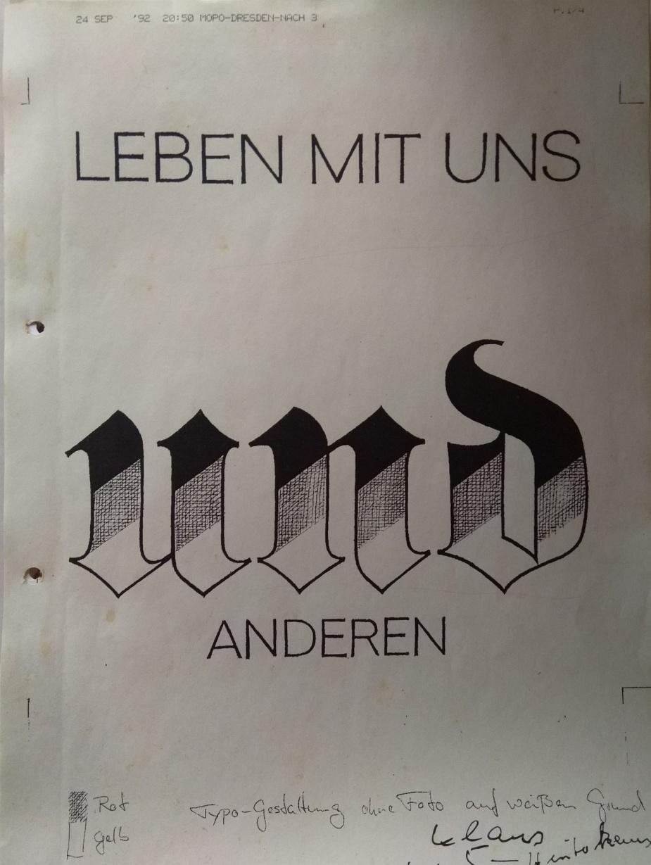 Layoutentwurf für das Multikulturelle Zentrum Zittau, 1992.