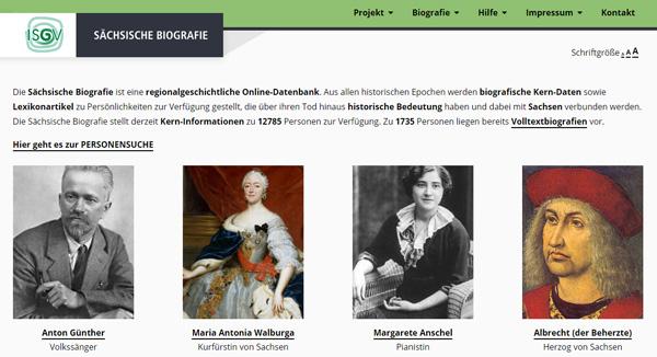 Screenshot Sächsische Biografie
