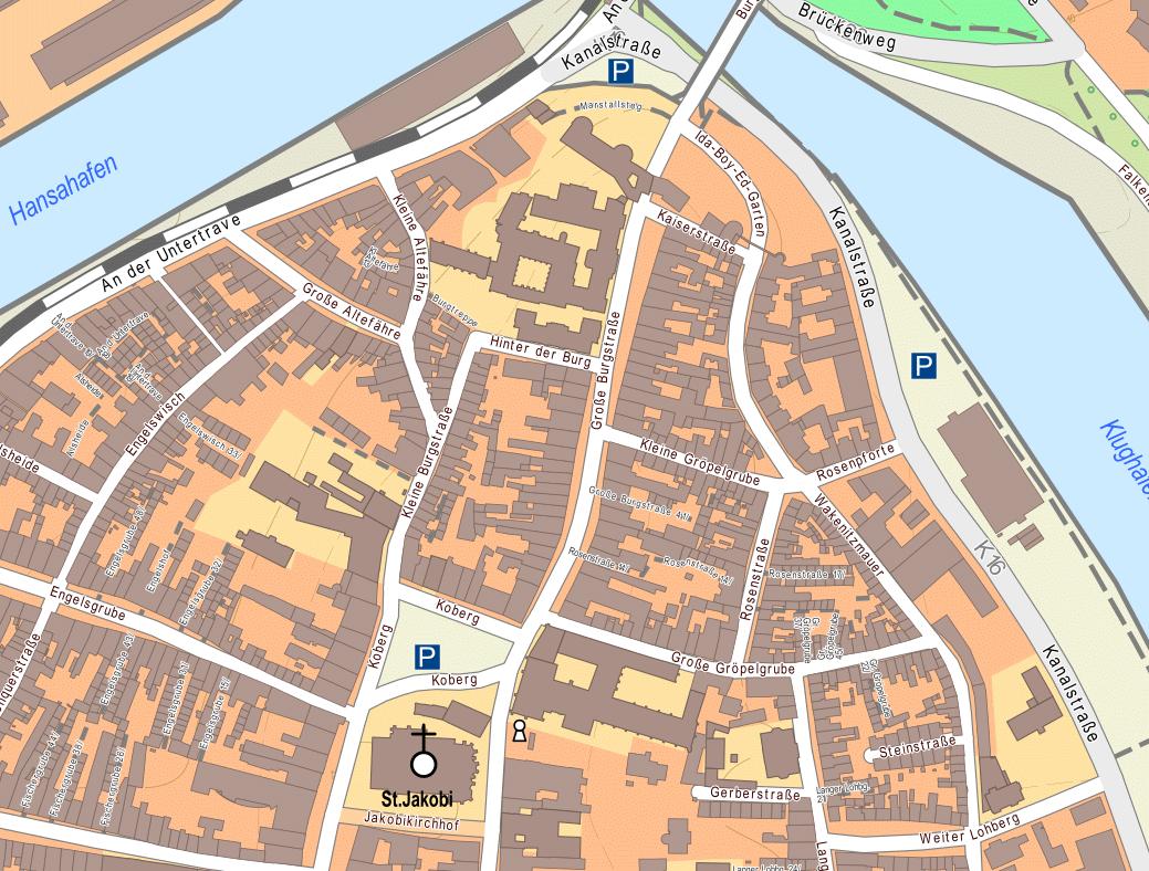onmaps.de ©GeoBasis-DE/BKG/ZSHH 2017 (Ausschnitt Hansestadt Lübeck 1:2.500)