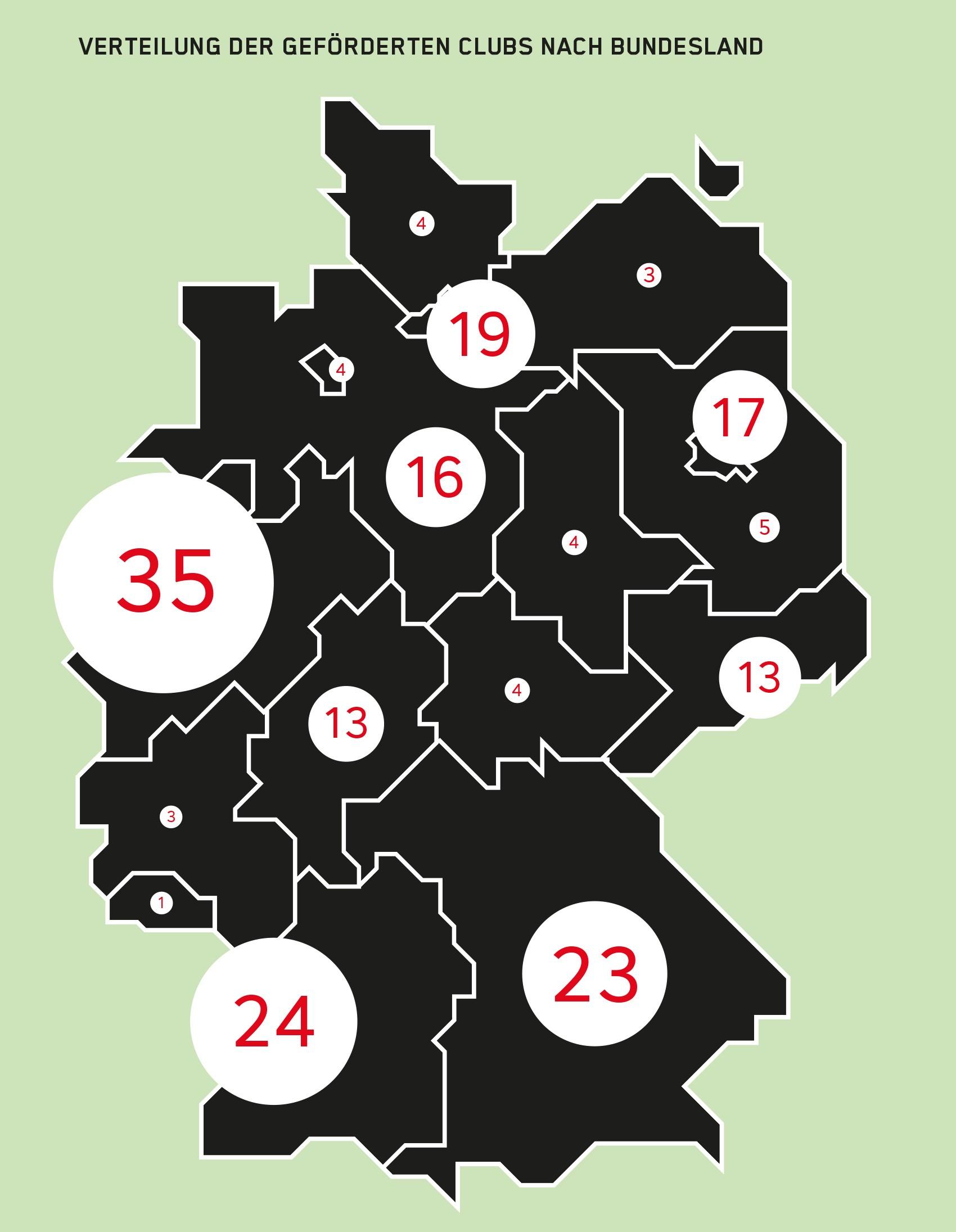 Karte der geförderten Musikclubs in Deutschland