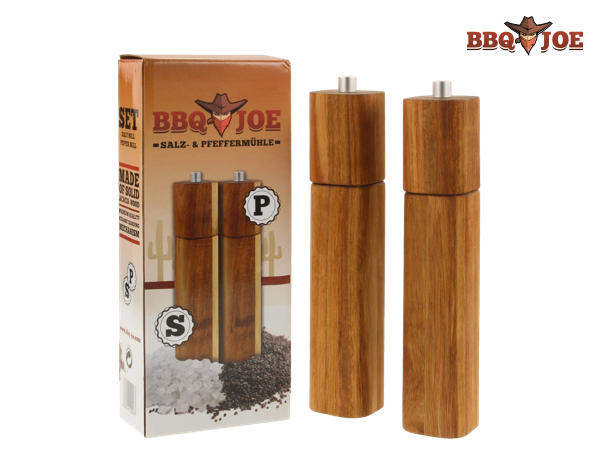 BBQ JOE Salz- und Pfeffermühlen aus Akazienholz robustes Keramik-Mahlwerk 21,6cm