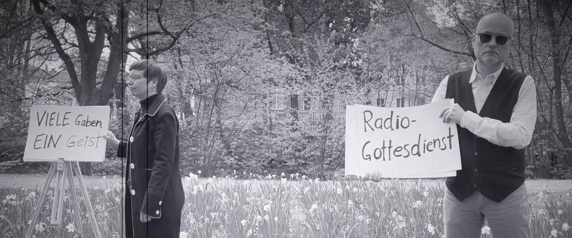 Filmstill zum Radiogottesdienst am 24.5.2021 im DLF mit Pastorin Imke Schwarz und Pastor Dr. Matthias Surall, Film-Teaser: Oliver Vorwald, Hörfunkreferent und Radiopastor der Evangelischen Kirche im NDR