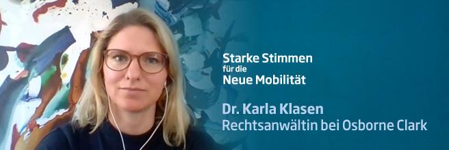 »Starke Stimmen für die Neue Mobilität« - mit Dr. Karla Klasen von Osborne Clarke