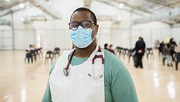 Medical staff at test centre