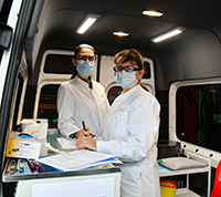 Medical staff in the COVCO bus
