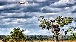 Children watching a drone in Madagascar