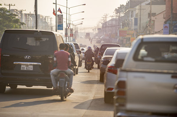 Heavy traffic in a city in Laos