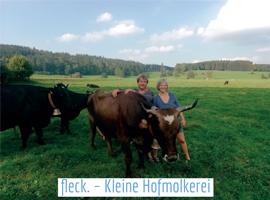 Zwei Menschen mit Kühen auf der Weide.