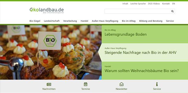 Screenshot Startseite Oekolandbau.de