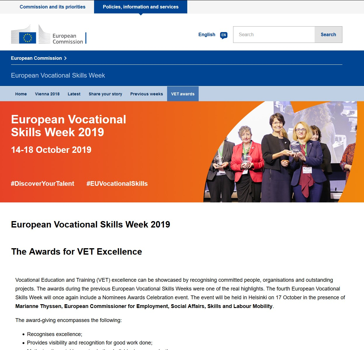 Cover Vocational Skills Week Awards