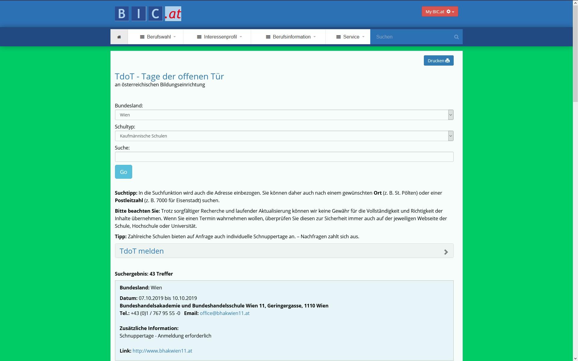 Screenschot BIC.at Tage der offenen Tür