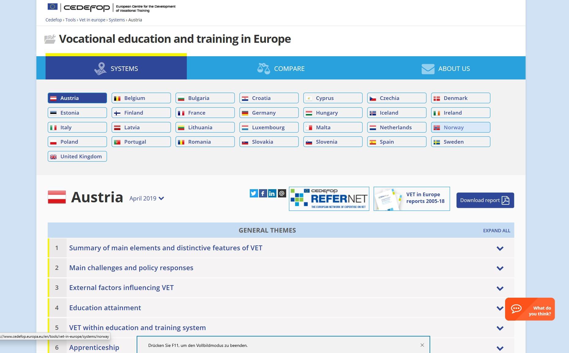 VET in Europe online tool