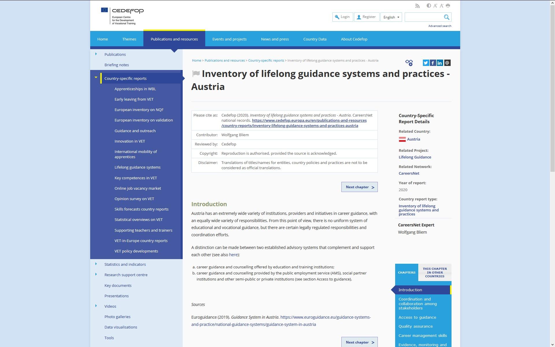 Cedefop Lifelong guidance inventory