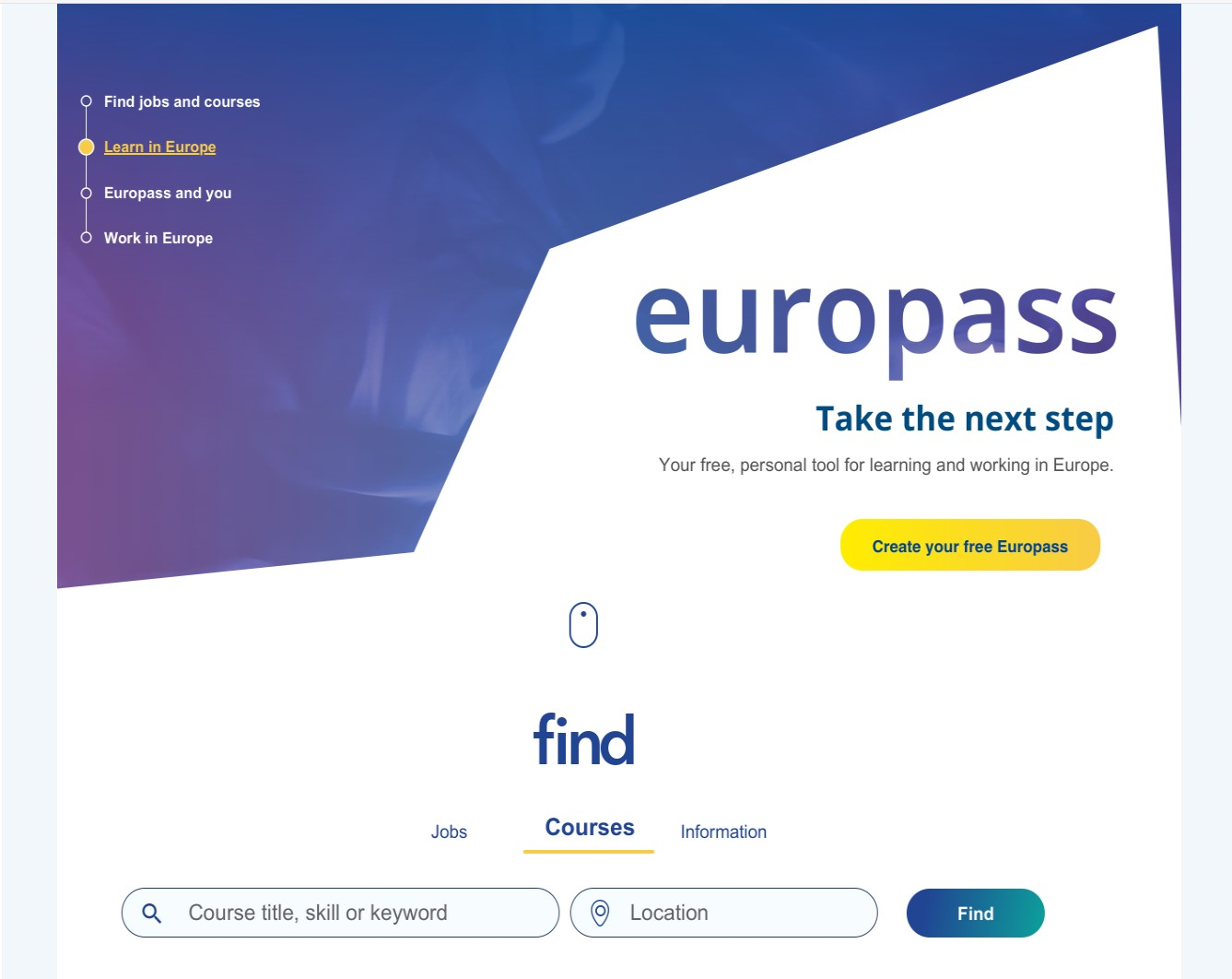 Screenshot Europass Portal