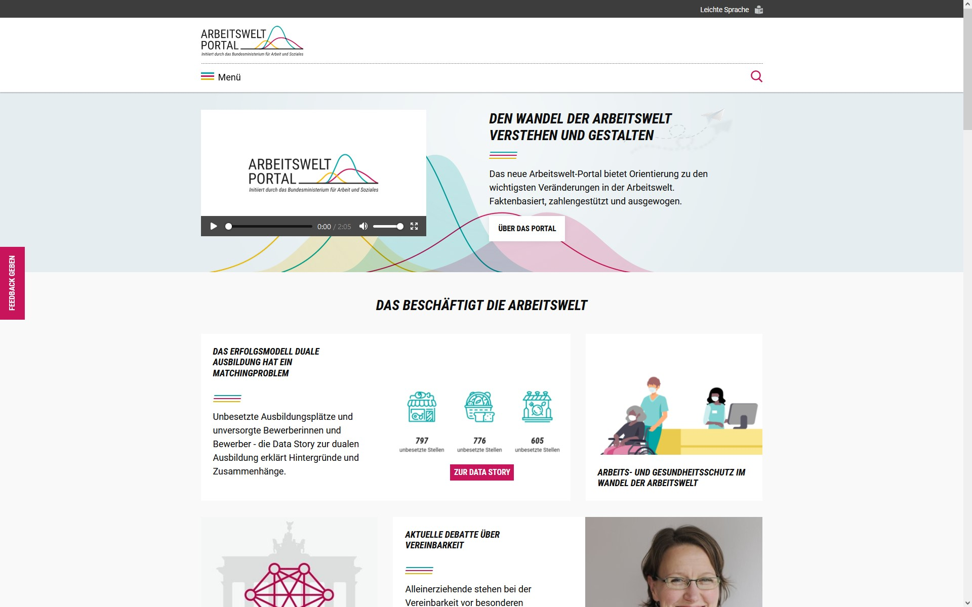 Screenshot Arbeitswelt-Portal